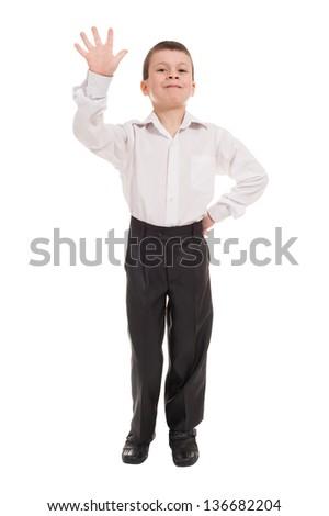 boy show five finger on white - stock photo