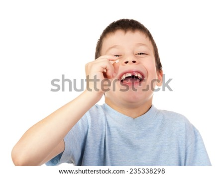 boy show lost tooth isolated