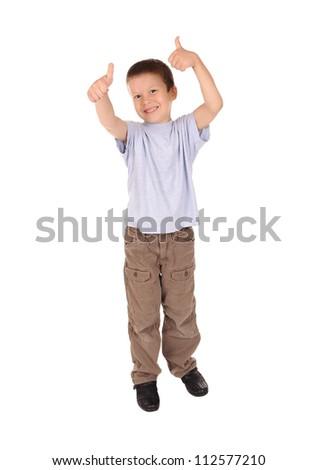 boy shows gesture okay. studio shoot - stock photo