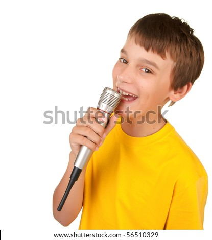 boy singing or speaking into microphone isolated white - stock photo