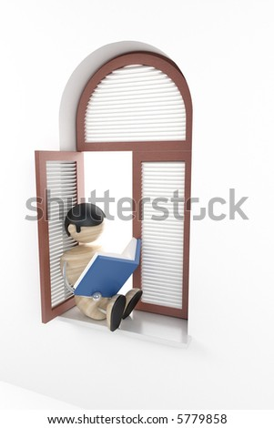 boy sit in window-sill and read book - stock photo