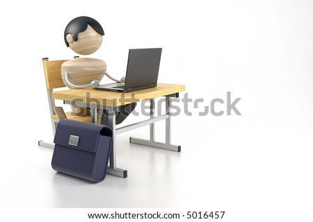 boy sits at the computer - stock photo