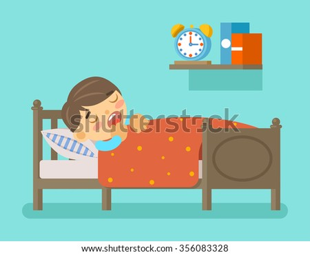 Boy sleeping in the bed - stock photo
