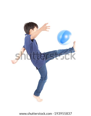 Boy soccer isolated on white background