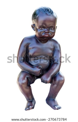 boy statue. worry.serious.isolated