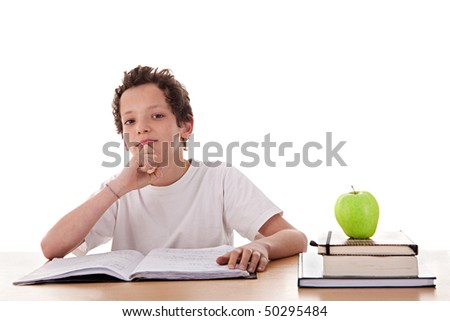 boy studying and thinking, along with one on apple top of some books, isolated on white background
