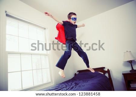Boy superhero - stock photo
