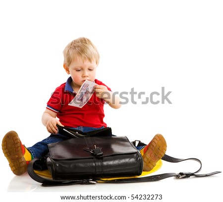 Boy taking money from parent's wallet isolated on white