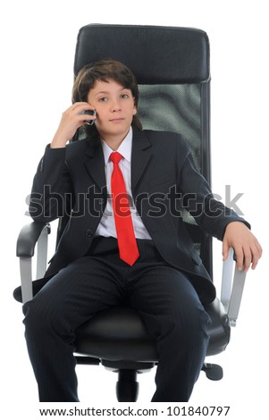 boy talking on the phone. Isolated on white background