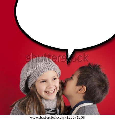 Boy talking to girl over red background with balloon. Valentines day concept. - stock photo