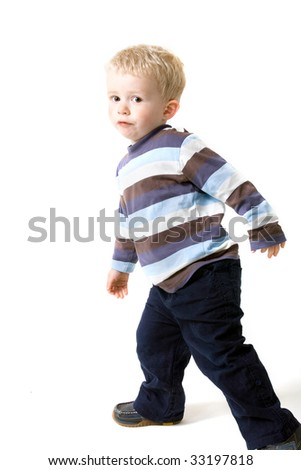 boy toddler portrait isolated on white. sweet small male child