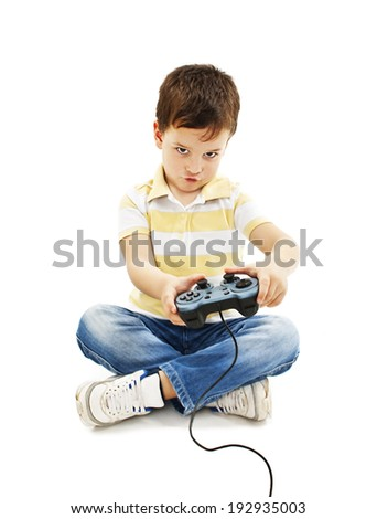 Boy using video game controller   Isolated on white background