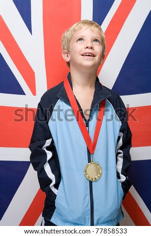 Boy wearing a medal - IE126-045 - stock photo