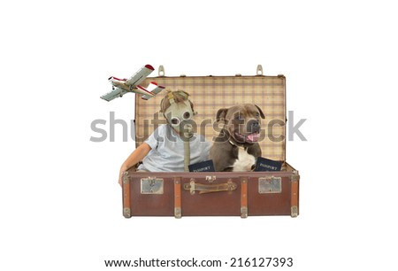 Boy wearing gas mask inside vintage suitcase with purebred dog pet and US passport airborne airplane flying by isolated on white background