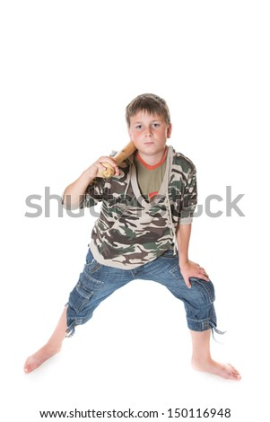 boy with a bat on a white background