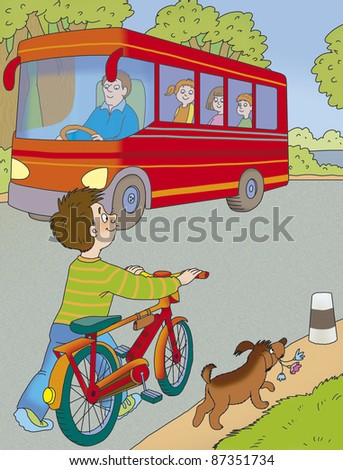 boy with a bicycle and a dog are on the road - stock photo