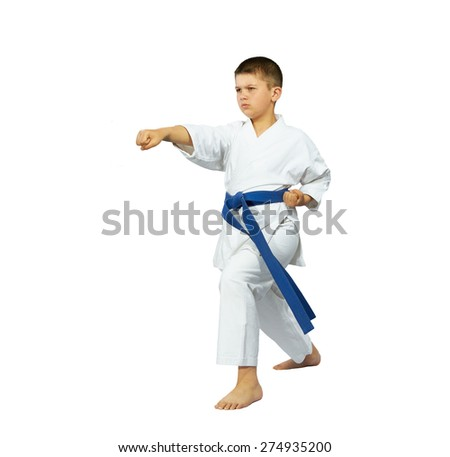 Boy with a blue belt in karate position makes punch