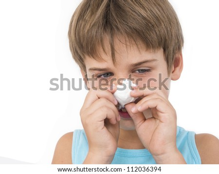 boy with a cold - stock photo