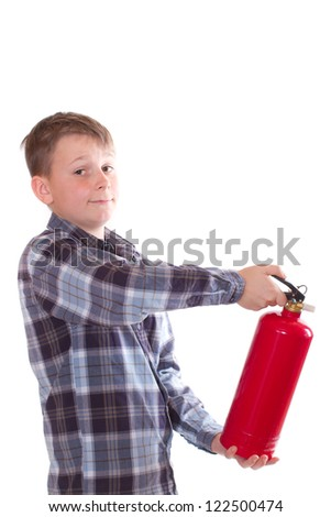 boy with a fire extinguisher on a white background - stock photo