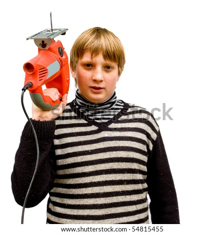 Boy with a fret saw on a white background - stock photo