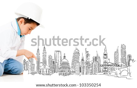 Boy with a graph of the main cities of the world - isolated over a white background - stock photo