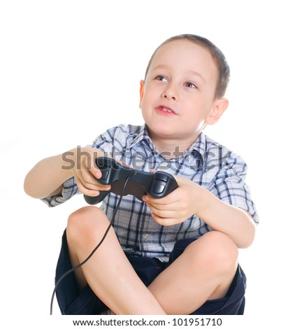 boy with a joystick  on white background - stock photo
