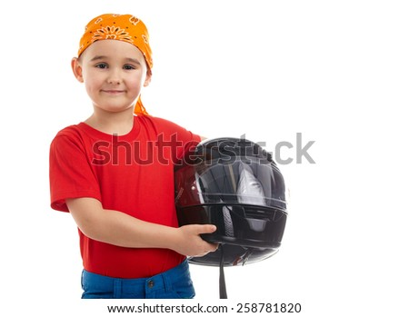 boy with a motorcycle helmet - stock photo