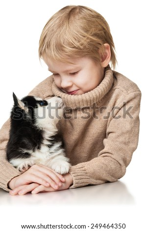 Boy with a puppy husky - stock photo