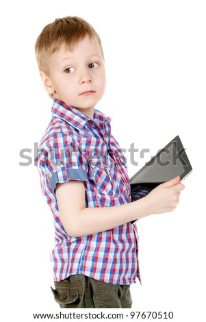 boy with a Tablet PC, isolate on white