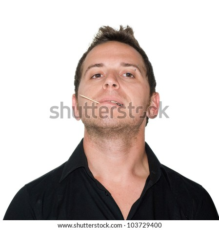 boy with a toothpick - stock photo