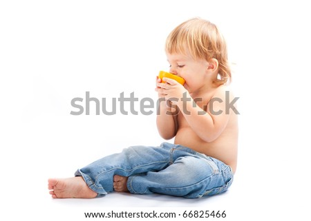 Boy with an orange