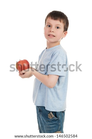 boy with apple isolated on white