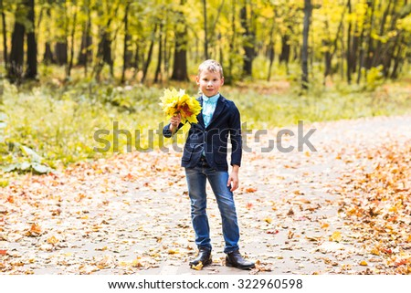 boy with autumn leaves in a park - stock photo