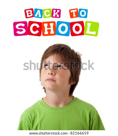Boy with back to school theme isolated on white - stock photo