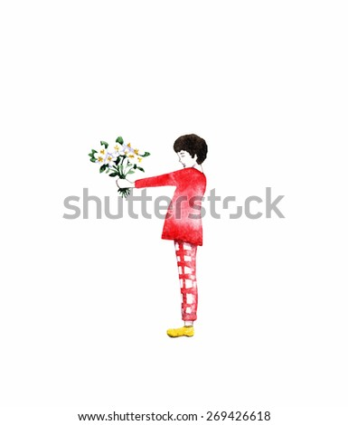 Boy with bouquet of flowers - illustration. Watercolor greeting card. Little child on white background with place for your text.  - stock photo