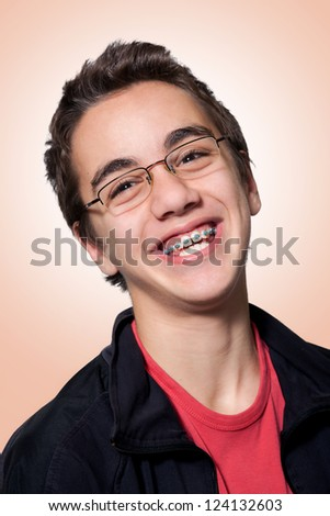 Boy with braces and glasses, Boy with braces and glasses