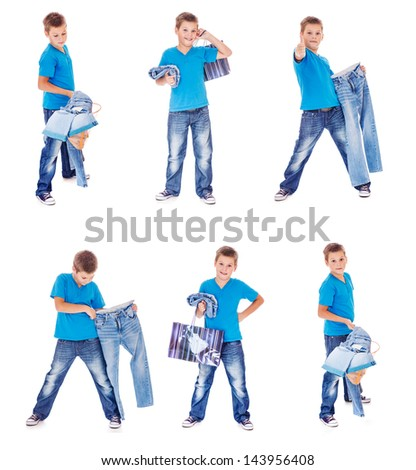 Boy with denim clothing collection - stock photo
