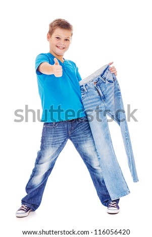 Boy with denim pants - stock photo