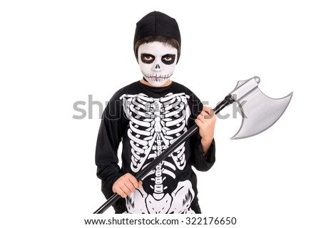 Boy with face-paint and skeleton Halloween costume isolated in white - stock photo