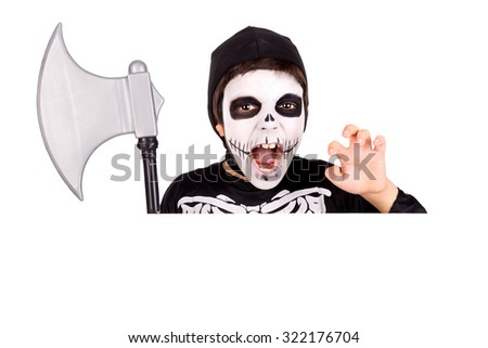 Boy with face-paint and skeleton Halloween costume over a white board