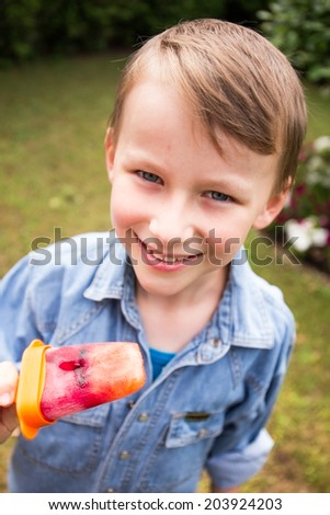 Boy with fruit ice