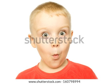 Boy with funny amazed expression