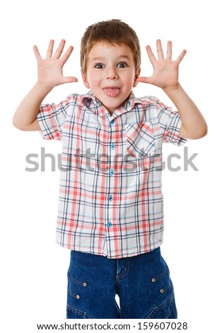 Boy with funny face, pulling himself on the ears, isolated on white - stock photo