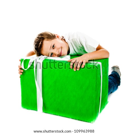 boy with gift isolated on a white background - stock photo