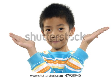 boy with hands up - stock photo