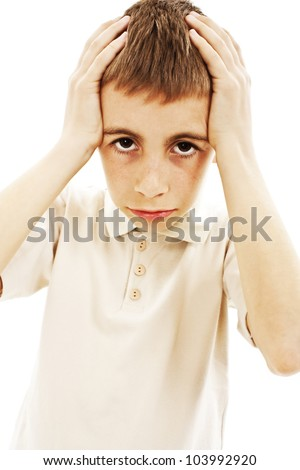Boy with headache or being confused. Isolated on white background - stock photo
