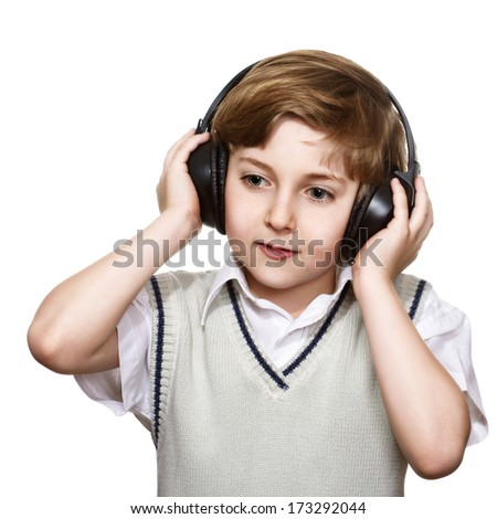 Boy with headphones isolated on white background