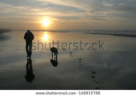 Boy with his dog at sunset on the beach in Wassenaar, Netherlands. - stock photo