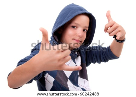 boy with his hands rise up as a sign of everything cool, isolated on white background - stock photo