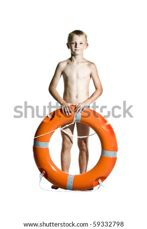 Boy with lifebuoy on white background - stock photo